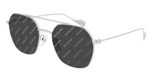 BALENCIAGA BB0089SK 004 Silver Grey Unisex Square Rectangle 55 mm Sunglasses
