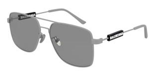 BALENCIAGA BB0116SA 004 Grey Square Rectangle Men's 59 mm Sunglasses
