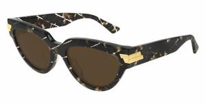 BOTTEGA VENETA BV1035S 003 Havana Rectangle Women's 55 mm Sunglasses