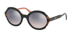 PRADA SPR 17U 5ZW-GR0 Top Black Pink Oval Women's 53 mm Sunglasses