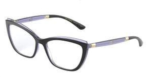 DOLCE & GABBANA DG5054 3274 Black Transparent Dark Square Women's 56 mm Eyeglasses