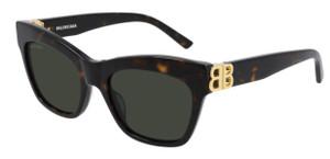 BALENCIAGA BB0132S 002 Havana Rectangle Square Women's 53 mm Sunglasses
