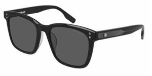 MONT BLANC MB0138SK 001 Black Grey Square Rectangle Men's 55 mm Sunglasses