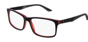 PUMA PU0074O 007 Black Grey Rectangle Square Men's 56 mm Eyeglasses