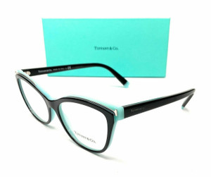 Tiffany TF2192 8055 Black Blue Women Cat Eye Demo Lens Eyeglasses Frame 54 mm