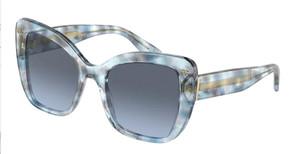 DOLCE & GABBANA DG4348 33208F Transparent Blue Square Women's 54 mm Sunglasses