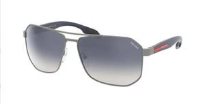 PRADA SPS 51V DG1-1J0 Gunmetal Rubber Square Rectangle Men's 62 mm Sunglasses