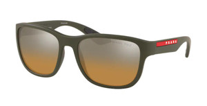 PRADA LINEA ROSSA SPS 01U 578-741 Green Rubber Square Rectangle 59 Men's Polarized Sunglasses