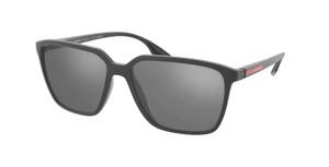 PRADA LINEA ROSSA SPS 06V UFK-07H Grey Rubber Square Rectangle Men's 58 mm Sunglasses