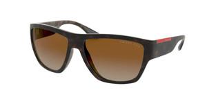 PRADA LINEA ROSSA PS 08VS 56403G Matte Havana Brown Square Rectangle Women's Polarized Sunglasses