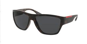 PRADA LINEA ROSSA PS 08VS 56406F Matte Havana Dark Grey Square Rectangle Men's 59 mm Sunglasses