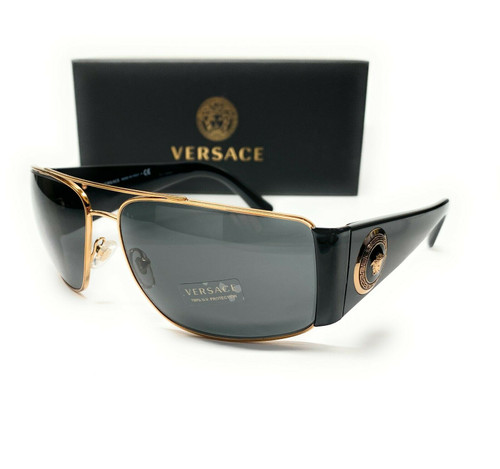 Versace VE2163 100287 Gold Grey Lens Men's Rectangle Sunglasses 63mm