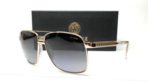 VERSACE VE2174 1252T3 Gold Grey Grad Polarized Men's Sunglasses 59 mm