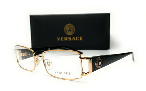 VERSACE VE1163M 1252 Pale Gold Demo Lens Women Rectangle Eyeglasses 52mm