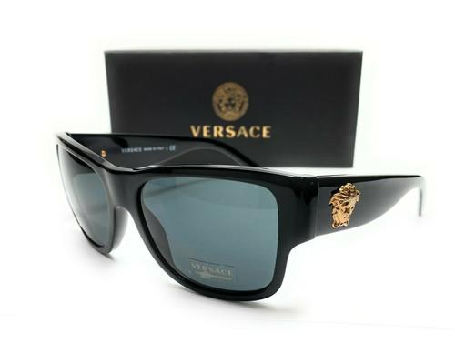 Versace VE4275 GB1 87 Black Grey Lens Men's Square Sunglasses 58mm