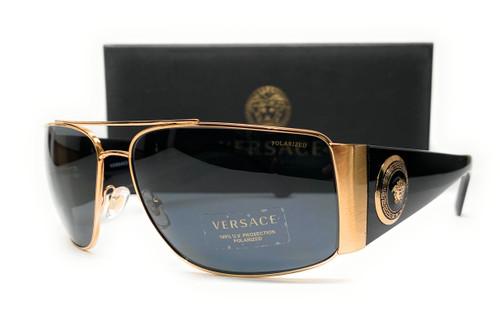 VERSACE VE2163 100281 Gold Dark Gr Polarized Men's Sunglasses 63 mm