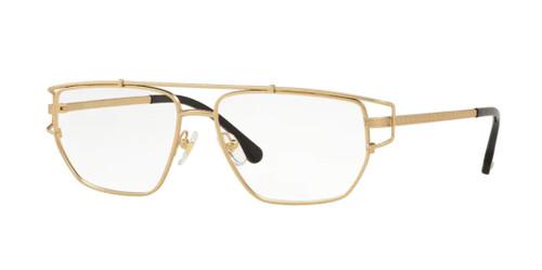 VERSACE VE1257 1410 Matte Gold Rectangle 55 mm Men's Eyeglasses
