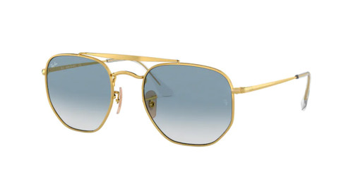 RAY BAN RB3648 001 3F Gold Square Unisex 54 mm Sunglasses