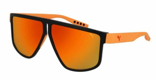 PUMA PU0286S 004 Black Orange Square Rectangle 62 mm Men's Sunglasses
