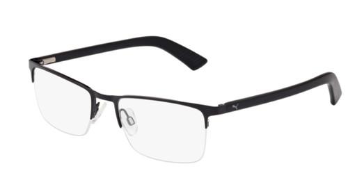 PUMA PU0028O 005 Black Transparent Square Rectangle Men's 56 mm Eyeglasses