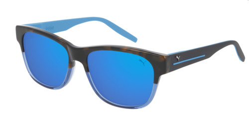 PUMA PU0266S 003 Havana Light Blue Rectangle Square Men's 56 mm Sunglasses
