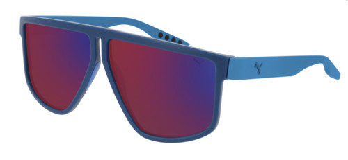 PUMA PU0286S 003 Blue Light Blue Rectangle Square Men's 62 mm Sunglasses