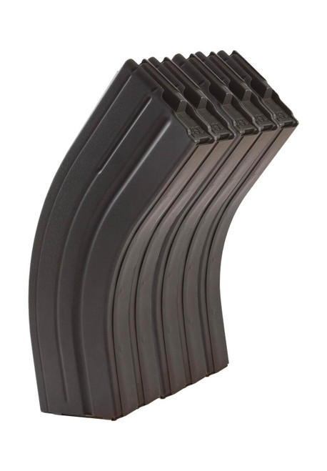 Five Pack of AR-15 30rd 7.62x39 Stainless Steel Magazines with Black Marlube Coating and Black follower.