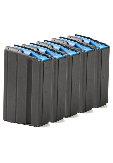 Five Pack of AR-15 10rd 6.5 Grendel Stainless Steel Magazines with Black Marlube Coating and Blue Follower