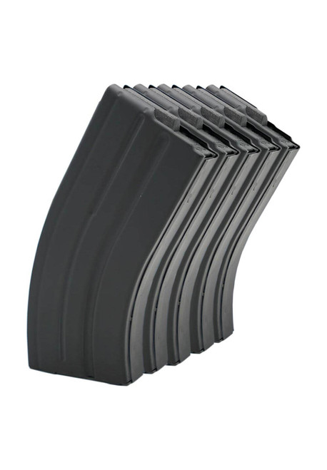 Five Pack of AR-15 20rd 7.62x39 Stainless Steel Magazines with Black Marlube Coating and Black follower.