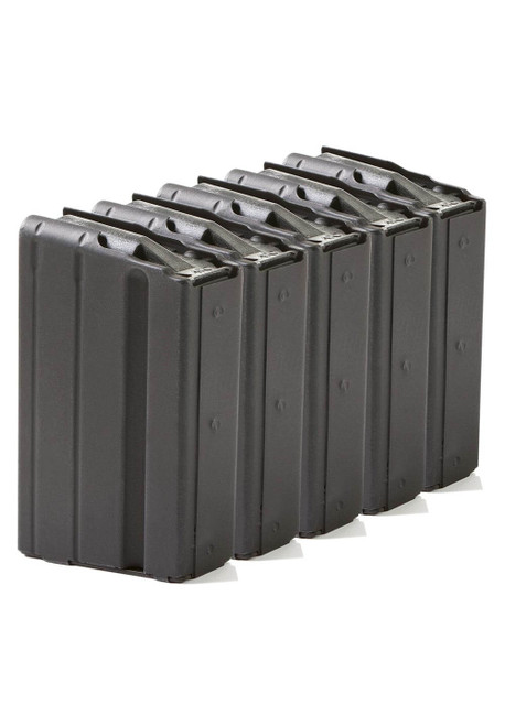 Five Pack of AR-15 5rd 7.62x39 Stainless Steel Magazines with Black Marlube Coating and Black follower.