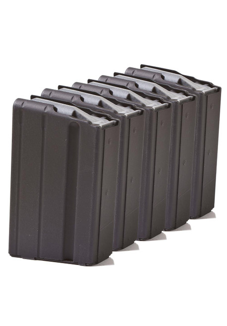 Five Pack of AR-15 10rd 6.8 SPC  Stainless Steel Magazines with Black Marlube Coating and Grey follower.