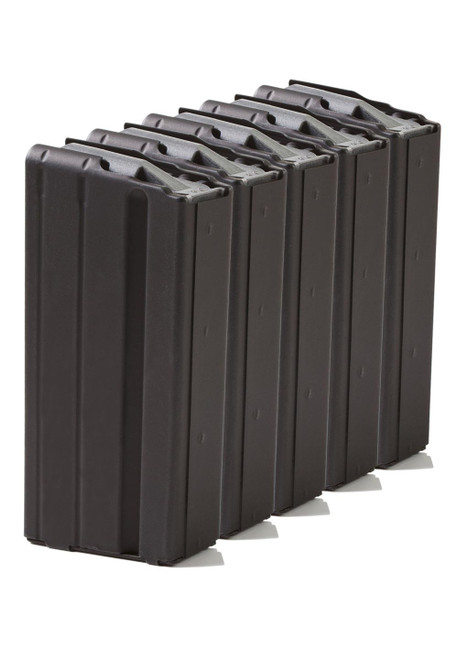 Five Pack of AR-15 15rd 6.8 SPC Stainless Steel Magazines with Black Marlube Coating and Grey follower.