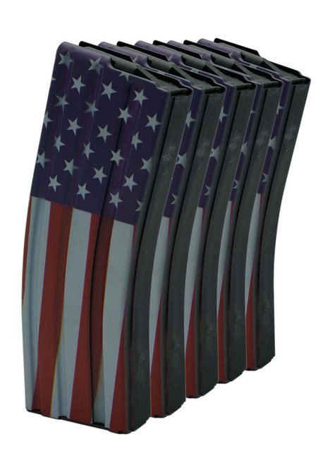 (5 Pack) AR-15 American Flag Magazine - Election Day Magazine with Black Follower