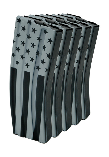 (5 Pack) 30rd .223/5.56 Stainless Steel Magazine with Veterans Day design.