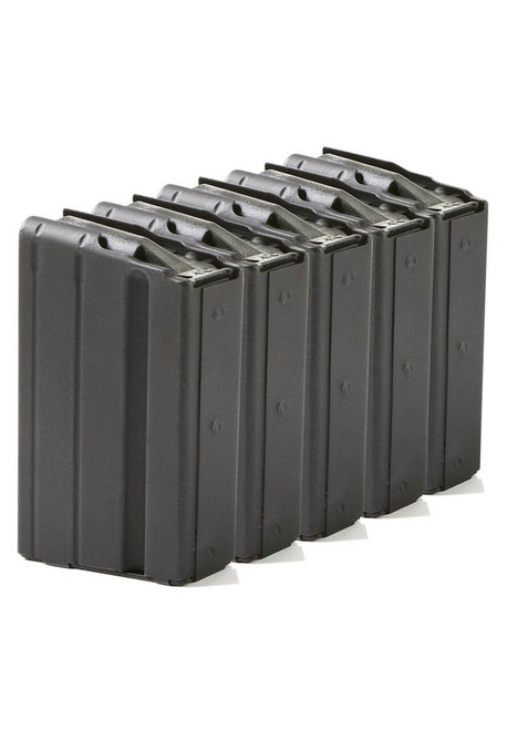 Five Pack of AR-15 10rd 7.62x39 Stainless Steel Magazines with Black Marlube Coating and Black follower.