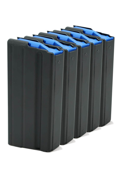 Five Pack of AR-15 6.5 Grendel Stainless Steel Magazines with Black Marlube Coating and Blue Follower