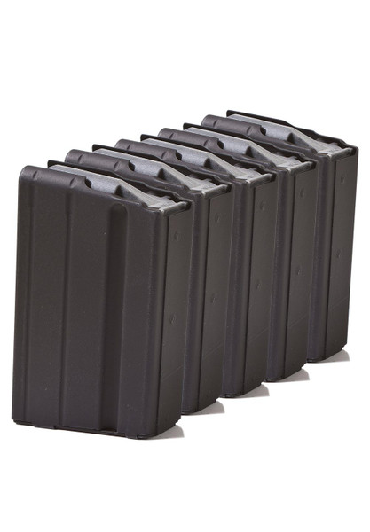Five Pack of AR-15 5rd 6.8 SPC Stainless Steel Magazines with Black Marlube Coating and Grey follower.