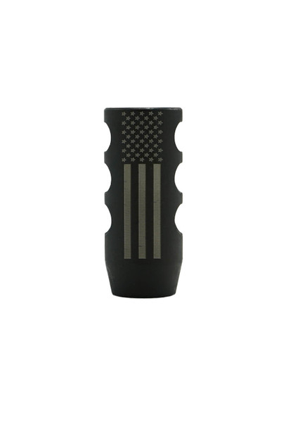 Black Nitride .308/6.5 Creedmore Muzzle Brake with American Flag Design