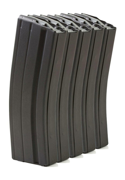 Five Pack of AR-15 25rd 6.8 SPC Stainless Steel Magazines with Black Marlube Coating and Grey follower.