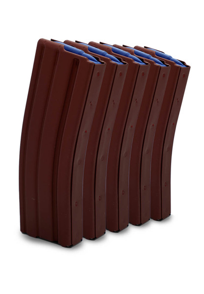Deep Red AR-15 Magazines with blue followers.