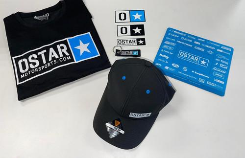 OSTAR Motorsports Promo Pack :  (1) Ostar T-shirt  (1) Ostar V2 Hat  (1) Ostar Mouse pad (1) Ostar Keychain (2) Ostar Stickers
