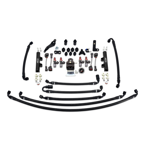 IAG-AFD-2630BK IAG PTFE Flex Fuel System Kit with Injectors, Lines, FPR, Fuel Rails for 08-14 WRX (Black/1050cc).