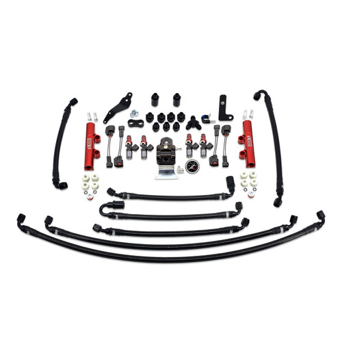 IAG-AFD-2630RD IAG PTFE Flex Fuel System Kit with Injectors, Lines, FPR, Fuel Rails for 08-14 WRX (Red/1050cc).