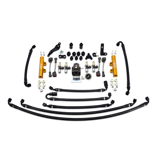 IAG-AFD-2633.1GD IAG PTFE Flex Fuel System Kit with Injectors, Lines, FPR, Fuel Rails for 08-14 WRX (Gold/2600cc).