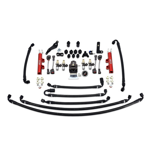 IAG-AFD-2633.1RD IAG PTFE Flex Fuel System Kit with Injectors, Lines, FPR, Fuel Rails for 08-14 WRX (Red/2600cc).