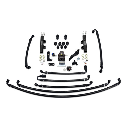 IAG-AFD-2634BK IAG PTFE Flex Fuel System Kit with Lines, FPR, Fuel Rails for 08-14 WRX.
