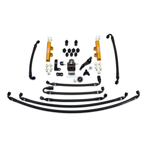 IAG-AFD-2634GD IAG PTFE Flex Fuel System Kit with Lines, FPR, Fuel Rails for 08-14 WRX.