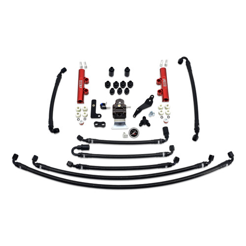 IAG-AFD-2634RD IAG PTFE Flex Fuel System Kit with Lines, FPR, Fuel Rails for 08-14 WRX.