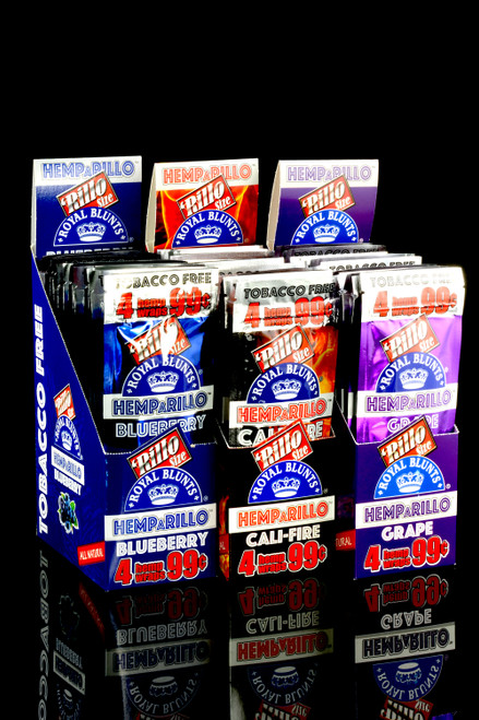 Wholesale retail display of flavored rillo wraps for resale.