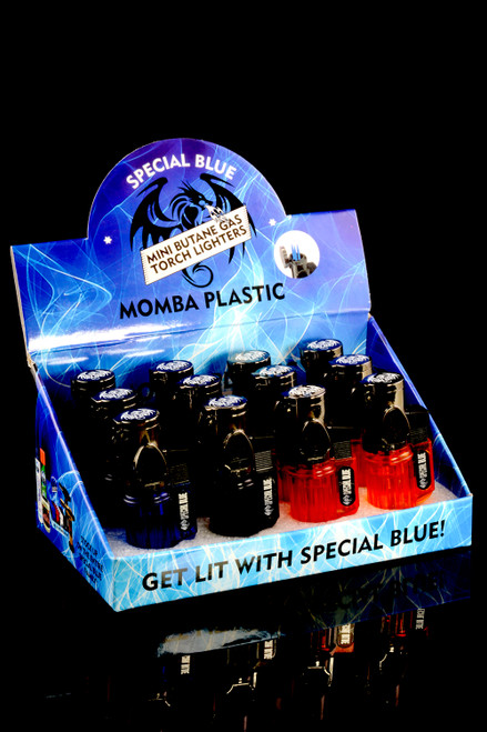 12 Pc Special Blue Momba Plastic Torch Lighter Display - L0202
